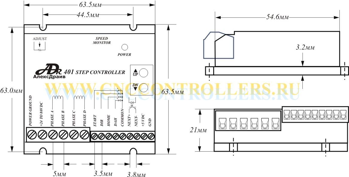 габаритные размеры контроллера ADR401 | драйвер